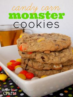 Candy Corn Monster Cookies {recipe} with a bonus Hot Apple Cider {recipe)