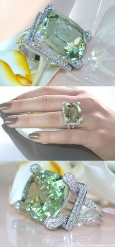 An impressive Prasiolite ring (green amethyst, ct.) in excellent purity / brilliance / chroma and flawless cushion-cut, combined with the finest diamonds cts TW-VS. I Love Jewelry, Jewelry Box, Jewelry Accessories, Fine Jewelry, Jewelry Design, Jewelry Trends, Silver Jewelry, Diy Schmuck, Schmuck Design