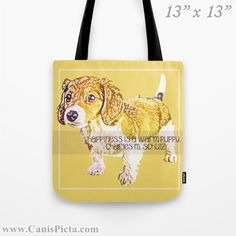 """Dachshund """"Pursuit of Happiness"""" Graphic Print Tote Bag Pet Yellow Sunshine Hugs Puppy Dog """"Happiness is a warm Puppy"""" Quote Charles Schulz by CanisPicta, $25.00"""