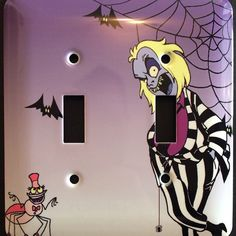 Beetlejuice Cartoon Double Light Switch Cover by ScreamForMeInc on Etsy https://www.etsy.com/listing/230074683/beetlejuice-cartoon-double-light-switch