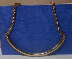 Gold Tone Curved Bar Necklace by GrandmasTrove on Etsy