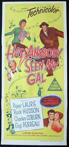 rock hudson movie posters   Movie poster Rock Hudson Piper Laurie - HAS ANYBODY SEEN MY GAL Movie ...