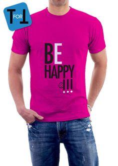 BE HAPPY - T-shirt rose fuchsia pour transmettre la bonne humeur Tshirt Homme de la boutique teeFORtea sur Etsy