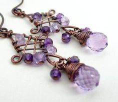 Copper earrings, amethyst earrings, grape purple earrings, wire wrapped jewelry by africanorchid