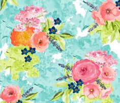 Watercolor Floral fabric by willowlanetextiles on Spoonflower - custom fabric