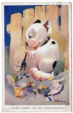 "1932 G. E Studdy card Bonzo ""Never forget an old acquaintance"" | eBay"