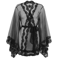 Agent Provocateur Lacy Kimono ($490) ❤ liked on Polyvore featuring intimates, robes, lingerie, underwear, tops, lace kimono, lacy lingerie, lace robe, lace kimono robe and lingerie robe