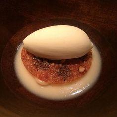 Parsnip panna cotta toasted farro ice cream huckleberry honey tuille walnut #quiaustin #qui #austin by jackfeinberg