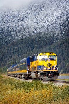 The Alaska Railroad - mid-September sees a light dusting of snow creeping down the mountains along the Coastal Classic Train route. www.AlaskaRailroad.com