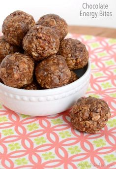 These peanut butter chocolate energy bites make a perfect after school snack!