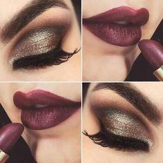 Esfumado elegante y labios vino