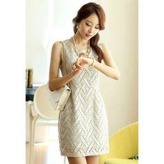 Spitze Spleißen Scoop Neck Sleeveless Casual Style Polyester Damen Kleid  Kleider, Lässige Kleider Für Frauen 11b7569b3b