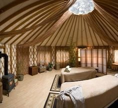 Massage Yurt - I wish! pretty decorating ideas though.