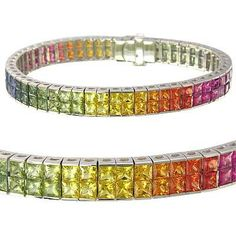 Multicolor+Rainbow+Sapphire+Double+Row+by+RainbowSapphire+on+Etsy,+$4843.00