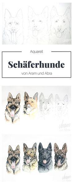 Nach Fotovorlage: Tierportrait Hunde (Schäferhund). Aquarell auf Zeichenpapier. Handgemalt von Aram und Abra.