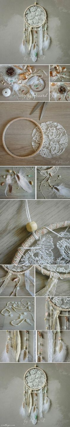 Lace dream catcher. Will make a small one to put on my bouquet.