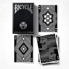 Bicycle The Black Book Manifesto Deck-Highlighting an iconic brand, the Bicycle Branded Black Book Manifesto is a Luxury Edition deck of designer playing cards that is timeless, modern, and unique to each one of us. Each of the 54 cards within the Bl Unique Playing Cards, Unique Cards, Black And White Books, Bicycle Cards, Typographic Design, Typography, Cartomancy, Card Tricks, Deck Of Cards
