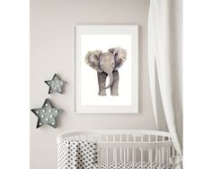 Excited to share the latest addition to my #etsy shop: Elephant Art Print, Safari Nursery Animal Wall Decor for Boy or Girl Room, Gender Neutral Baby Gift, Zoo Animal Print of Watercolor Painting