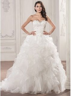 Wedding Dresses - $389.99 - Ball-Gown Sweetheart Court Train Organza Lace Wedding Dress With Beading Sequins Cascading Ruffles  http://www.dressfirst.com/Ball-Gown-Sweetheart-Court-Train-Organza-Lace-Wedding-Dress-With-Beading-Sequins-Cascading-Ruffles-002056946-g56946