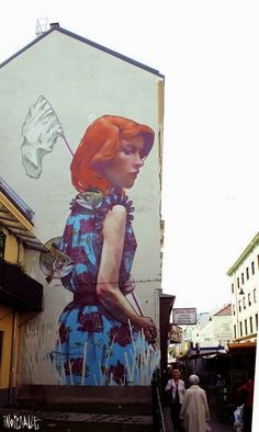 Best Graffiti & Amazing Street Art - Fish Huntress by Bezt in Vienna Murals Street Art, 3d Street Art, Street Art Graffiti, Best Graffiti, Graffiti Murals, Best Street Art, Amazing Street Art, Street Artists, Wall Murals