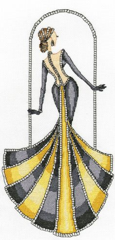 Cross Stitch Kits Grand Entrance from the Elegant Ladies series designed by Yvette Jordan. Cross Stitch Needles, Cross Stitch Fabric, Cross Stitch Kits, Cross Stitch Charts, Cross Stitch Designs, Cross Stitching, Cross Stitch Embroidery, Cross Stitch Patterns, Diy Embroidery