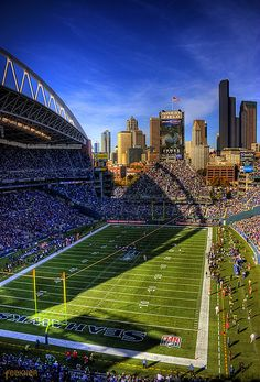 The Seahawks at the clink .- This stadium is amazing - I was fortunate enough to be at the grand opening before the public was allowed in - Thank you SO MUCH Paul Allen for giving a Damn..and for helping to make Seattle even more awesome....Rock On Sir Paul Allen!!!!!! Beast Mode, Skiddles, Sherman, Tate, Wilson, Smith, Kearse, and on and on -GO HAWKS!!!!!!