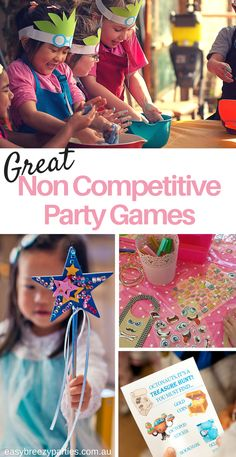 Don't want to compete at your next kid's party? Here's some great ideas for non competitive games and activities. http://www.easybreezyparties.com.au/party-inspiration-and-ideas/item/130-non-competitive-party-game-ideas.html #easybreezyparties
