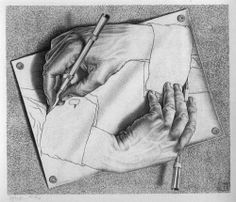 the pencil sketch from M.C. Escher where one hand draws the other. Pencil is still my favorite Art medium!