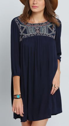 Loving my long sleeve embroidered dress from SheIn. The perfect casual dress outfit!