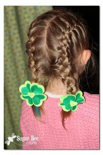 Shamrock Heart Hairclips ~ Sugar Bee Crafts