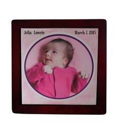 Baby Girl Custom Gifts, personalized photo tile, baby annoucement picture displays , photo prints, home decor by KALUCAart on Etsy