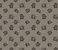 Pugs! (Black Pugs on Gray) fabric by jaana on Spoonflower - custom fabric