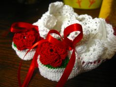 Crochet Baby shoes with Red Rose and Ribbon: http://www.outbid.com/auctions/12959-bellyboo-s#5
