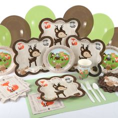 Woodland Critters Tableware: Plates, Napkins & Cut with forest friends characters