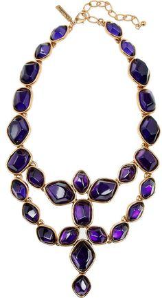 Oscar De La Renta Purple Goldplated Cabochon Necklace
