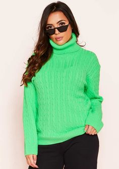 23c7fe82bc Missyempire - Isla Neon Green Roll Neck Knitted Cable Jumper Xmas Jumpers