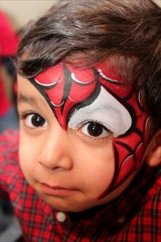When you think about face painting designs, you probably think about simple kids face painting designs. Many people do not realize that face painting designs go Superhero Face Painting, Face Painting For Boys, Face Painting Designs, Paint Designs, Body Painting, Spider Man Face Paint, Boy Face, Child Face, Costume Makeup
