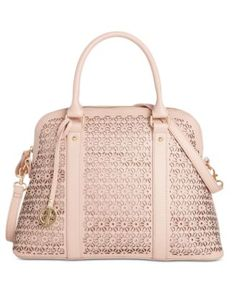 Giani Bernini Perforated Floral Leather Dome Satchel, Only at Macy's | macys.com