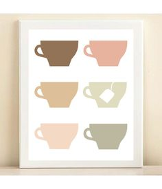 This one is mine!  Ordering now!!! <3  Tea Cups print poster by AmandaCatherineDes on Etsy, $15.00