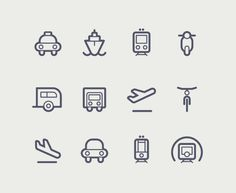 Transportation icons by Tom Nulens, via Behance