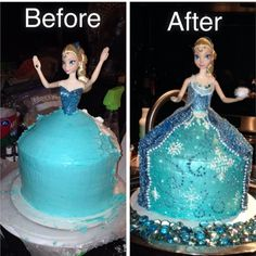 First attempt at a doll cake...Elsa to be exact