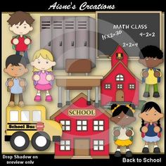 This pack contains 42 back to school graphics and 24 digi stamps