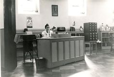 Librarian at a desk