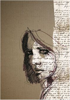 Another incorporation of text into a portrait. this amazing Portrait Illustration by Florian Nicolle is very subtle and gentle yet bold and daring, showing two sides of the person she is i like the use of the writing on the right side Art Du Collage, Mixed Media Collage, Image Collage, Mixed Media Faces, Mixed Media Artwork, Mixed Media Artists, Mixed Media Painting, Textured Painting, Collage Drawing