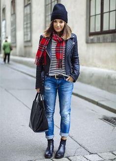 Plaid scarf, biker jacket, stripes, boyfriends