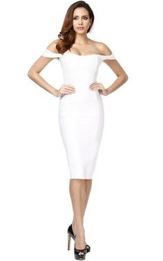 ed84e6205d3 An off the shoulder midi bandage dress in clean white featuring cascade cap  sleeves and knee