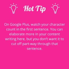 Take note of the limit on text displayed on Google+. #writerstips #contentmarketing #hottiptuesday