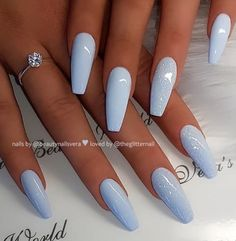 Acrylic Nails Coffin Short, Blue Acrylic Nails, Summer Acrylic Nails, Summer Nails, Blue Coffin Nails, Summer Ootd, Pastel Nails, Gorgeous Nails, Pretty Nails