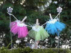 Miniature Fairy Garden Clothesline and Fairy Skirts Pink, Citrus Green, Blue