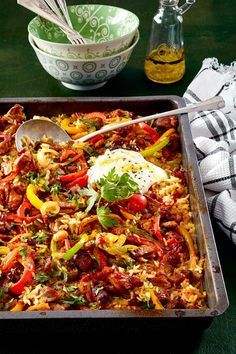"""""""A plate for all"""" -Oven-rice meat - Essen & Trinken - Gesund und lecker? eat and drink - healthy and tasty! Healthy Eating Tips, Healthy Snacks, Clean Eating, Healthy Recipes, Free Recipes, Grilling Recipes, Pork Recipes, Cooking Recipes, Oven Dishes"""